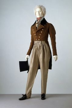 Double-breasted dress coat, waistcoat and 'cossack' trousers 1820s