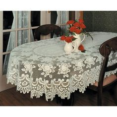 "Heritage Lace Rose Oval Tablecloth Color: Ecru, Size: 108"" W x 60"" L"