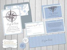 DIY Compass Destination Printable Invitation Suite