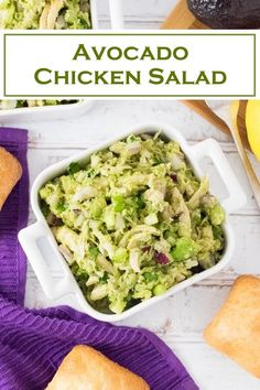 Avocado Chicken Salad Creamy avocado mingles with tender shredded chicken in this avocado chicken salad that is as healthy as it is flavorful. - Avocado Chicken Salad recipe via Avocado Dessert, Dessert Salads, Dessert Recipes, Avocado Chicken Salad, Chicken Salad Recipes, Healthy Chicken Salads, Low Calorie Chicken Salad, Avocado Egg Salad, Guacamole