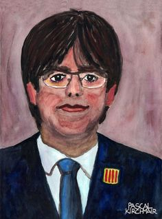 Carles Puigdemont i Casamajó (29 December 1962) is a Spanish politician and former journalist. He is the current president of the Government of Catalonia.  Watercolour on paper, 24 x 32 cm  カルラス・プッチダモン・イ・カザマジョー