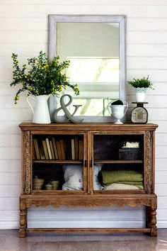 Shabby Chic side table with chicken-wire doors. From Jenna Sue Design Co.
