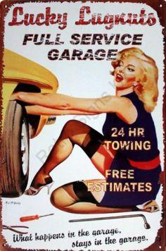 Lucky Lug Nuts Full Service Garage Decorative Enamel Tin Wall Sign