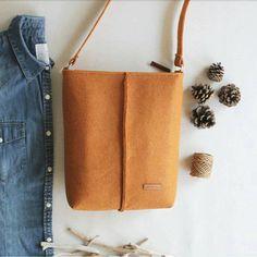 Handmade Apricot, Messenger Felt Bag, Crossbody Bag, Gift For Her