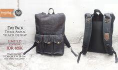 #Bestseller Daypack ' Three Arpoc' Black Denim,  IDR 185K. SMS / WhatsApp : 08562101653