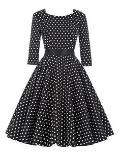 Just Charming 1950s Vintage Style Black and White Polka Dot Retro Dress