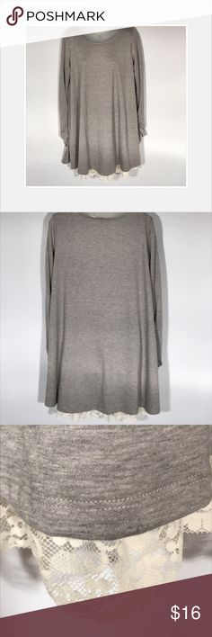 Shift dress with lace hem Cute shift dress with lace trim and roughed sleeves.  Like new condition. Dresses