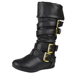 Kids Mid Calf Boots Gold Stacked Buckle Accent Casual Shoes Black Refer to picture for boot measurement. Available Colors: Black, Brown, Tan. Girls Shoes, Girls Footwear, Mid Calf Boots, Black Boots, Casual Shoes, Brown, Girl Boots, Gold, Leather
