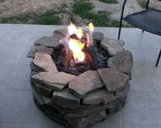 This is a Napoleon outdoor gas fire pit that one of our customers add a flagstone surround turning it into a custom pit all for a few hundred dollars. Deck Fire Pit, Outside Fire Pits, Garden Fire Pit, Fire Pit Backyard, Fire Pit Gallery, Fire Pit Landscaping, Landscaping Tips, Fire Pit Materials, Outdoor Fireplace Designs