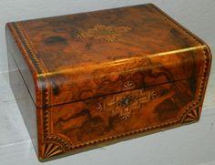 Burl walnut inlaid dresser box. : Lot 194