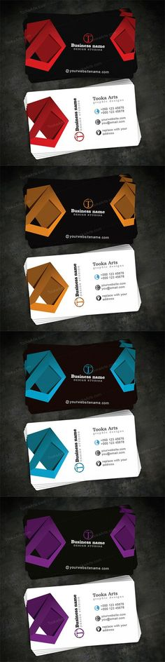 do you like this business card design? It is designed with four different colors. Click the link to go to download page