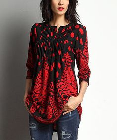 Black & Red Vine Dot Notch Neck Pin Tuck Tunic (not a fan of polyester/spandex blends. but this top is pretty)