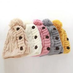456eb793a52 Hot Sale Fuzzy Ball Buttons Knitted Hemp Flowers Hat For Women Beanie Hats  For Women