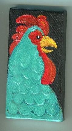 Original Painting Turquoise rooster on mini by SharonFosterArt, $20.00