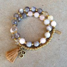 Botswana agate and pink quartz 27 bead wrap mala – Lovepray jewelry