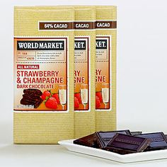 World Market Strawberry Champagne Dark Chocolate Bars...Three of my most faves in one...I might just have to indulge.