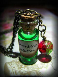 Handmade Harry Potter Inspired Shrinking Solution Potion Glass Bottle Necklace | eBay £4.99