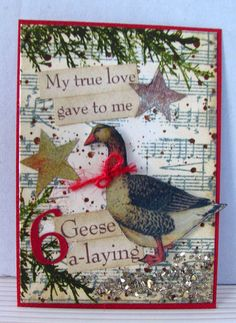 6 Geese a-laying Christmas Card Twelve Days Of Christmas, All Things Christmas, Christmas Themes, Christmas Crafts, Christmas Decorations, Cone Christmas Trees, Jewelry Christmas Tree, Catholic Crafts, Christmas Cooking