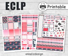 Shabby Chic Printable Planner Stickers,February Planner Stickers, Erin Condren Weekly Kit, Weekly Planner Stickers by AnnaLizDesign on Etsy