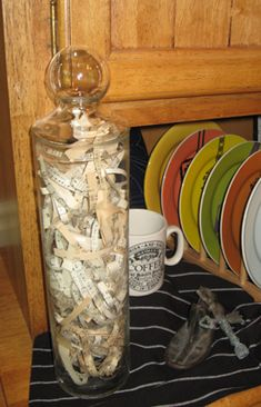Take an old music book or hymnal, run some pages through a paper shredder and you've got great confetti. Use it inside glass bottles, as bird nests, in plants etc.