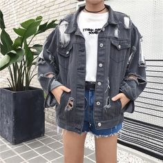 Ripped holes black grunge denim jean jacket in 2019 normcore Jeans Grunge, Denim Jeans, Grey Denim Jacket, Ripped Denim, 90s Grunge, Denim Jackets, Grunge Jacket, Blue Denim, Bomber Jackets