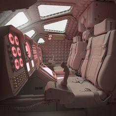Cockpit, Andrew Thornhill of animation art Online painting futurism fi fi environment fiction art Spaceship Interior, Futuristic Interior, Spaceship Design, Spaceship Concept, Spaceship Art, Futuristic Art, Cyberpunk, Space Opera, Pintura Exterior