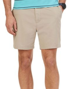 Nautica Cotton Flat Front Shorts Men's Beige 33