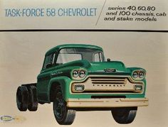 1958 Chevrolet Viking & Spartan Task-Force Chevrolet: Series 80 and 100 Chassis, Cab and Strake Models 12 page color catalog. 1958 Chevy Truck, Big Chevy Trucks, Farm Trucks, Chevrolet Trucks, Gmc Trucks, Diesel Trucks, Cool Trucks, Vintage Tractors, Vintage Trucks
