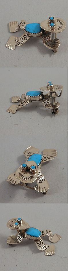 Pins Brooches 98499: Doris Smallcanyon - Navajo .925 Sterling Silver And Turquoise Frog Pin And Pendant BUY IT NOW ONLY: $114.95