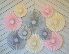 Pink, Grey and Cream Set of 10 (TEN) paper fans/rosettes, decorations for Girl Baby Shower,Birthday Party or  Wedding