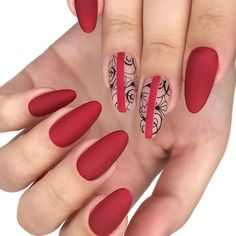 Floral Nail Art For Red Nails ❤️ All the best red nails design ideas for those who care about recent trends! Red Nail Designs, Pretty Nail Designs, Best Nail Art Designs, Red Nail Art, Floral Nail Art, Cool Nail Art, Cute Nails, Pretty Nails, My Nails