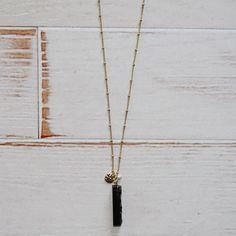 Black Bar Pendant Necklace