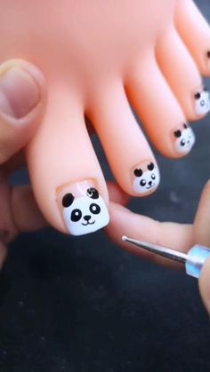 Nail Art Designs Videos, Nail Art Videos, Toe Nail Designs, Nail Designs For Kids, Animal Nail Designs, Cute Nail Art Designs, Cute Toe Nails, Toe Nail Art, Cute Acrylic Nails