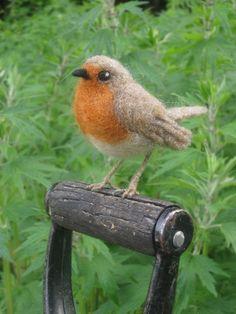 European Robin needle felted bird by Ainigmati on Etsy, $40.00