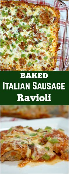 Baked Ravioli. Easy Italian sausage ravioli made from wonton wrappers. Easy dinner recipe.