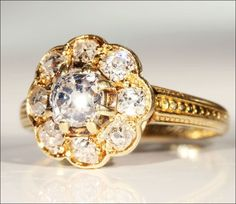 Antique Victorian Diamond Cluster Ring, 1.15 ctw 18k Gold from vsterling on Ruby Lane