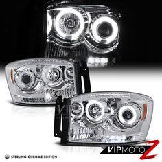 06-08 Dodge RAM 1500 CCFL Angel Eye Euro Chrome Projector Headlight Left+Right #VIPMOTOZ