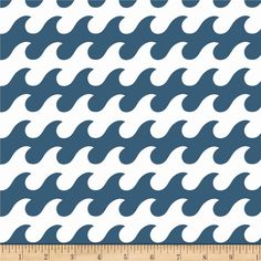 Riley Blake Fly Aweigh Waves Blue from @fabricdotcom  Designed by Samantha Walker for Riley Blake, this cotton print is perfect for quilting, apparel and home decor accents.  Colors include blue and white.