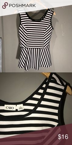 NWOT Striped Peplum Blouse In love with these stripes!! 😍😍 This is just the way to spice up your business attire or any everyday outfit with some skinny jeans and brightly colored flats! Cato Tops Blouses