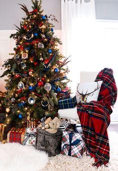 Christmas Trees Tartan And Plaid Christmas Tree Theme Traditional Christmas Happy New Year Blue Christmas Decor, Tartan Christmas, Gold Christmas Decorations, Ribbon On Christmas Tree, Christmas Tree Themes, Noel Christmas, Christmas Traditions, Simple Christmas, White Christmas