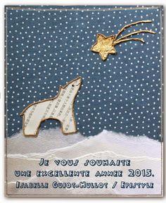 Carte avec un ours polaire et une étoile en découpes de papier collées sous du fil de kraft armé. La neige est représentée par des couches de papier blanc déchiré. Création d'Epistyle - (scrap Noël + Hiver)