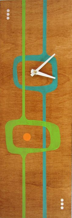 Retro Style Mid Century Modern MCM Abstract Clock by TikiQueenArts, $65.00