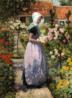George Hitchcock (American/Dutch, 1850-1913)   Dutch Woman in a Garden  c. 1890