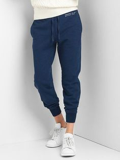 Gap Mens French Terry Logo Joggers Dark Indigo Size S Gap Outfits, Joggers, Sweatpants, Baby Kids Clothes, French Terry, Indigo, Maternity, Trousers, My Style