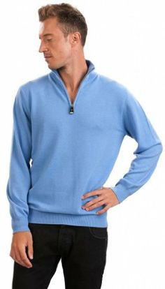 The Light Blue Ashton Half Zip | Mens Half Zip Sweaters ...