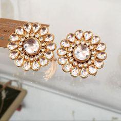 Classic Kundan Studs !! #kundan #jadau #goldplated #earrings #studs…