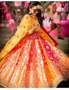 Banarsi lehenga ! Yellow pink peach red .. Perfect for mehendi function!