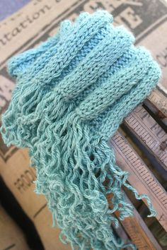 Aqua scarf with fun curly fringe 5X5 rib knit by DamagedLaundry