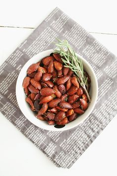 Rosemary-roasted almonds make for a more elegant big-game nosh.