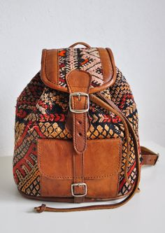 Kilim and Leather Backpack by ShilhaPeople on Etsy,